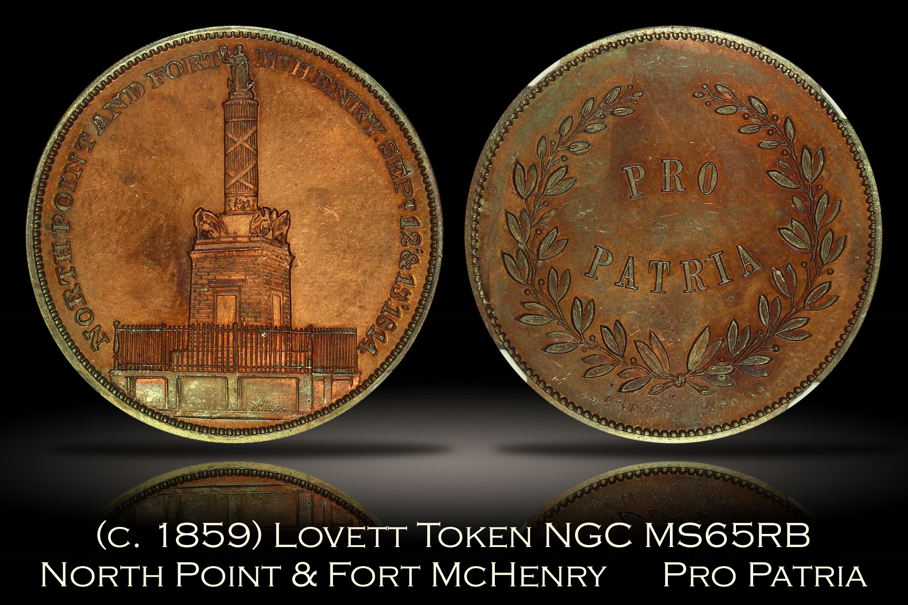 (c. 1859) Lovett North Point & Fort McHenry Pro Patria NGC MS65RB