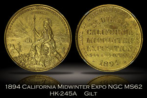 1894 California Midwinter Exposition Gilt Official Medal HK-245A NGC MS62
