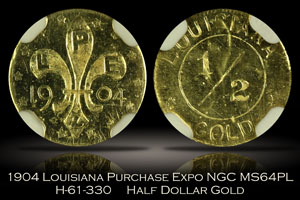 1904 Louisiana Purchase Expo Gold 1/2 Dollar NGC MS64PL