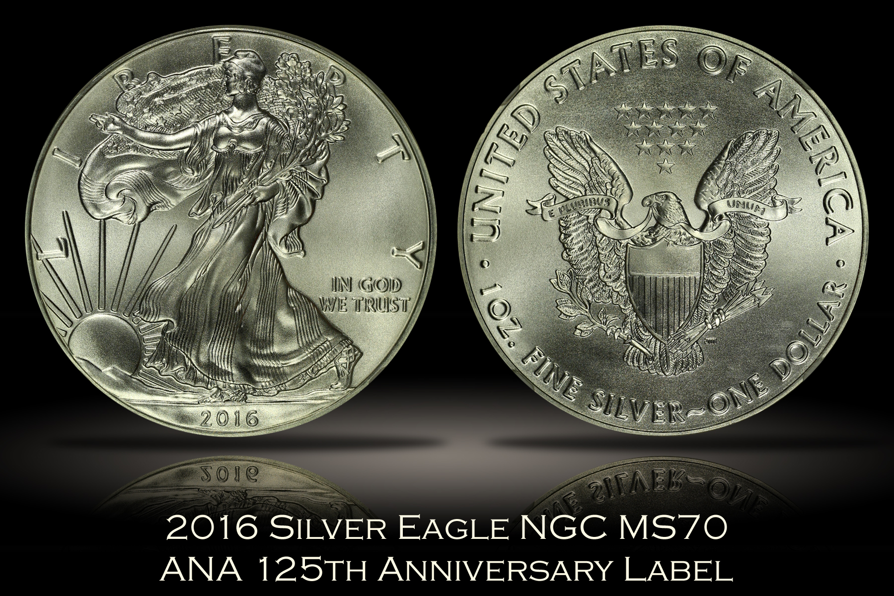 2016 Silver Eagle NGC MS70 ANA 125th Anniversary Label