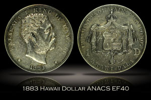1883 Hawaii Silver Dollar ANACS XF40