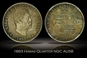 1883 Hawaii Quarter NGC AU58