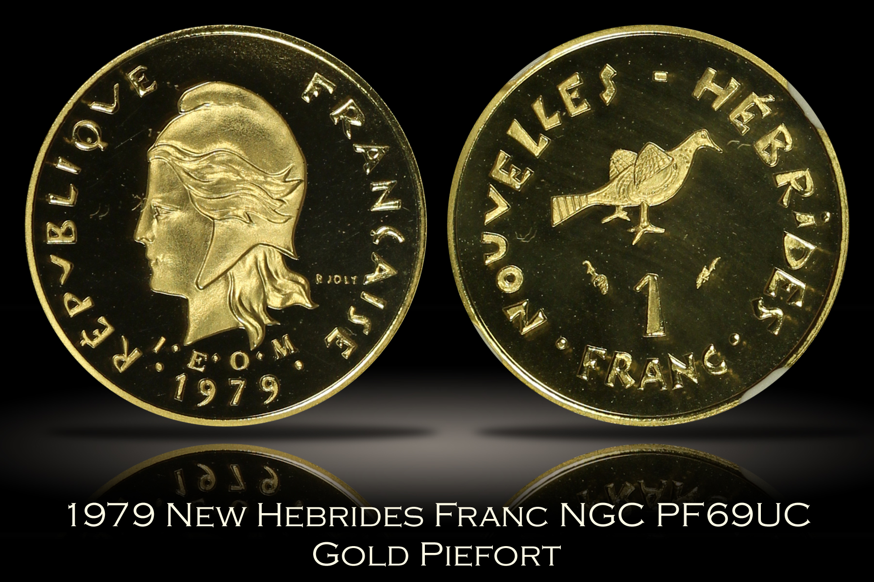 1979 New Hebrides Gold Franc Piefort NGC PF69UC