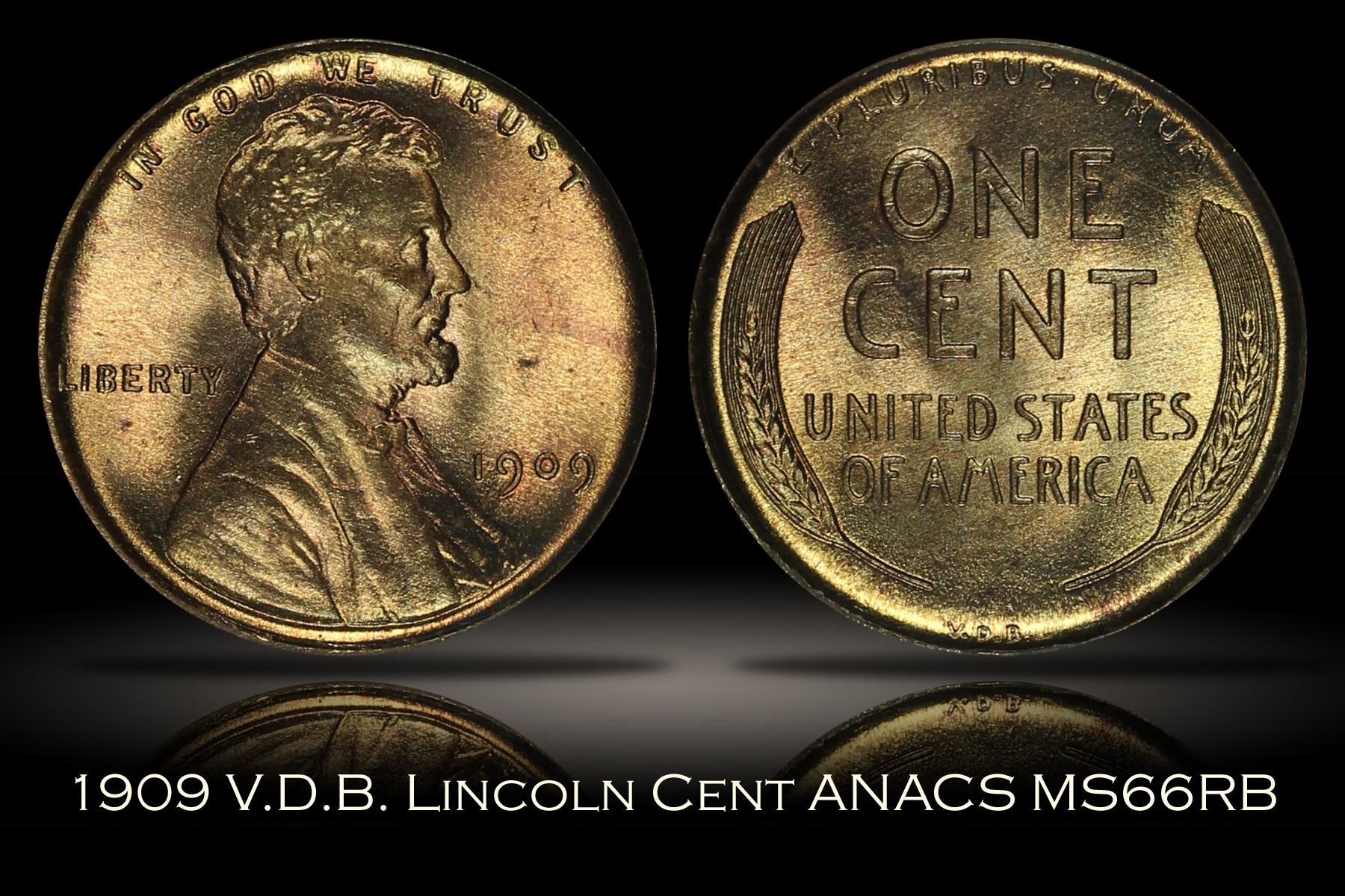 1909 VDB Lincoln Cent ANACS MS66RB