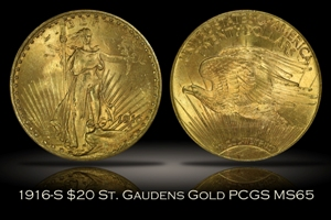 1916-S $20 St. Gaudens Gold PCGS MS65