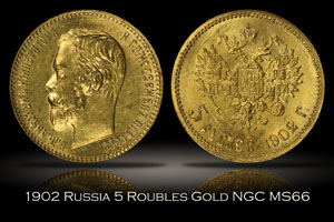 1902 Russia 5 Roubles Gold NGC MS66