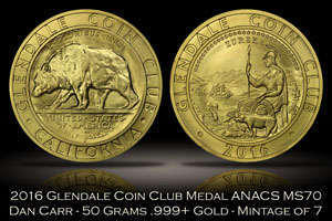 2016 Glendale Coin Club 50 Grams Gold Medal by Daniel Carr ANACS MS70
