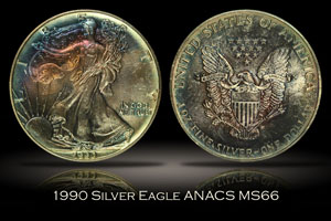 1990 Silver Eagle ANACS MS66