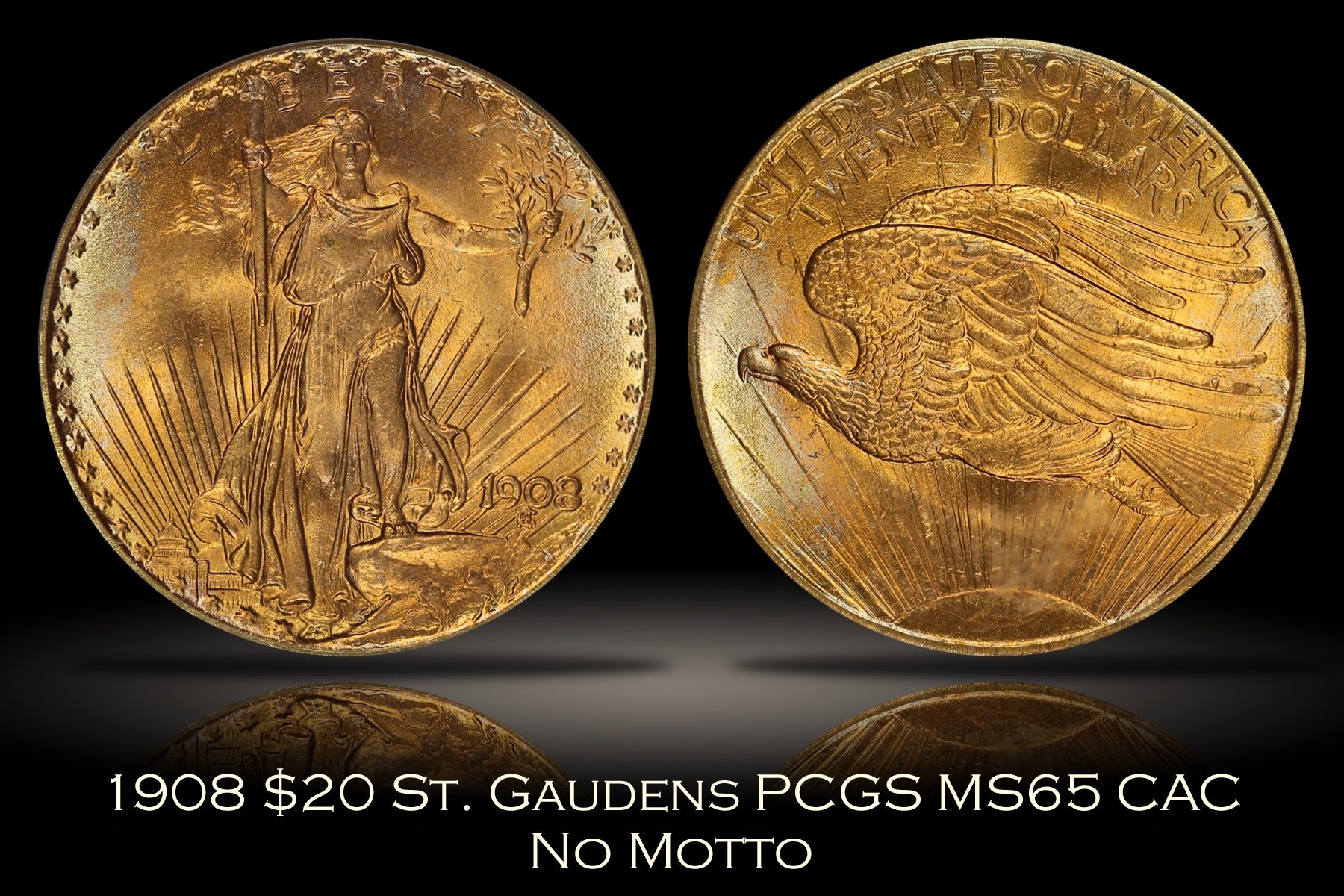 1908 $20 No Motto St. Gaudens Gold PCGS MS65 CAC