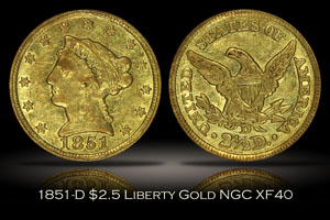 1851-D $2.5 Liberty Gold NGC XF40