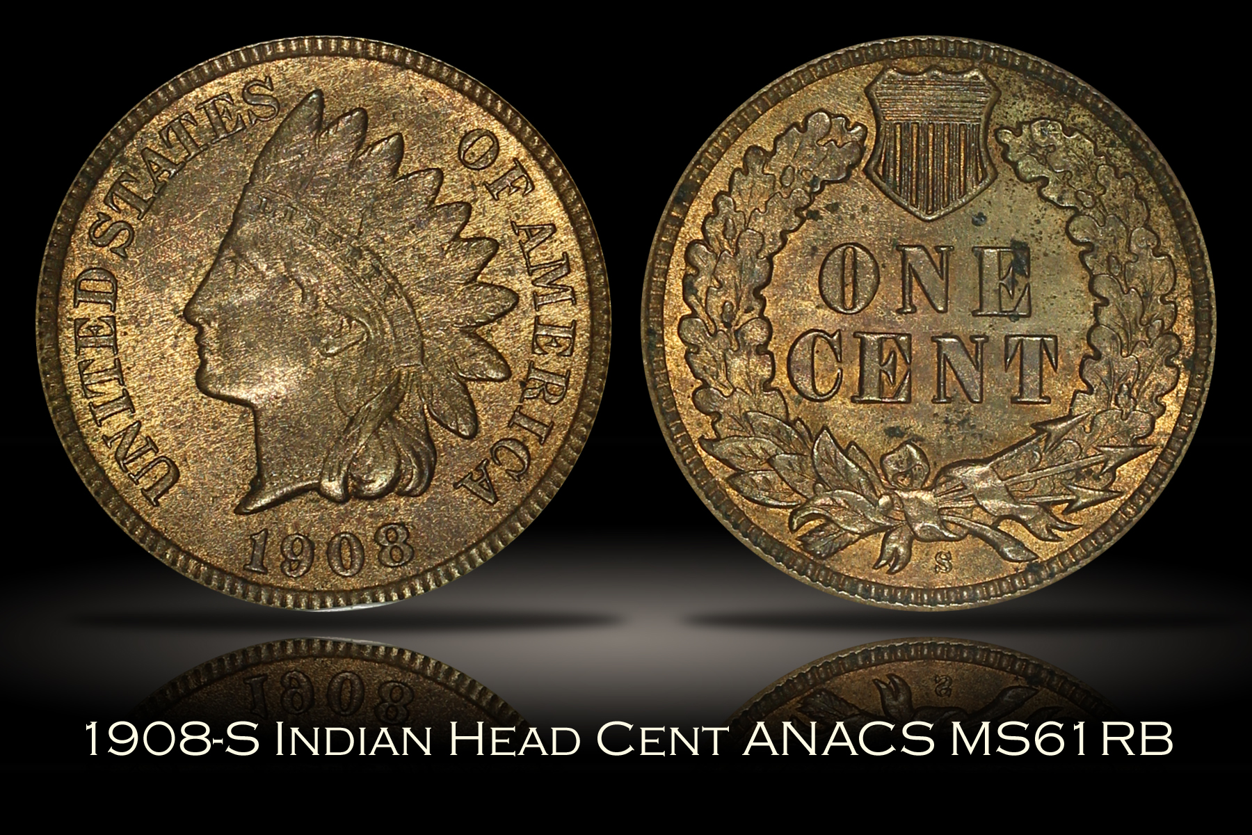 1908-S Indian Head Cent ANACS MS61RB