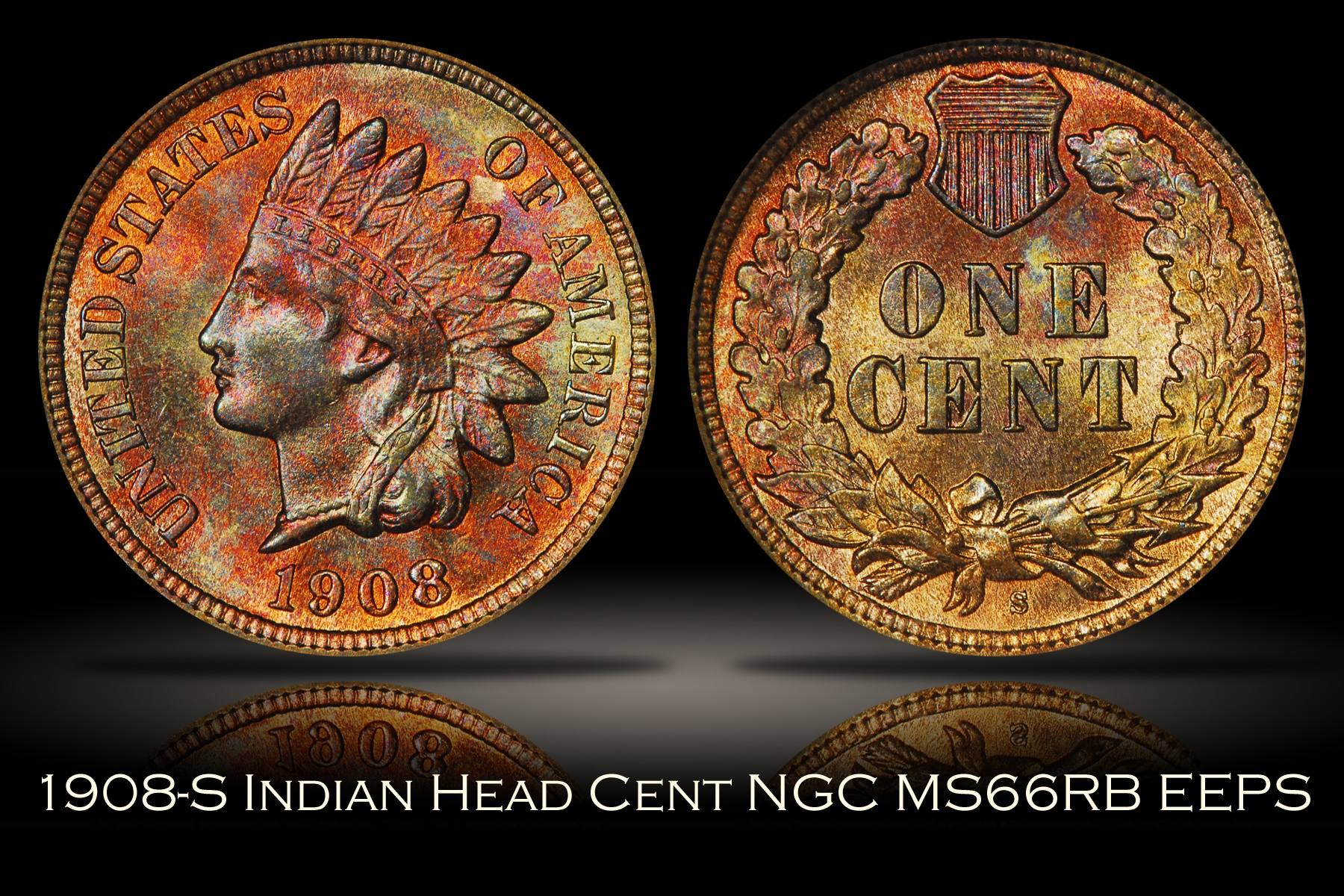 1908-S Indian Head Cent NGC MS66RB Eagle Eye Photo Seal