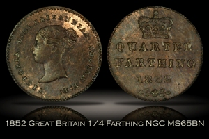 1852 Great Britain Quarter Farthing NGC MS65BN