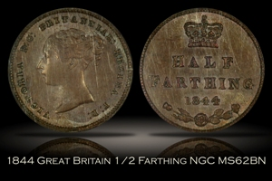 1844 Great Britain Half Farthing NGC MS62BN
