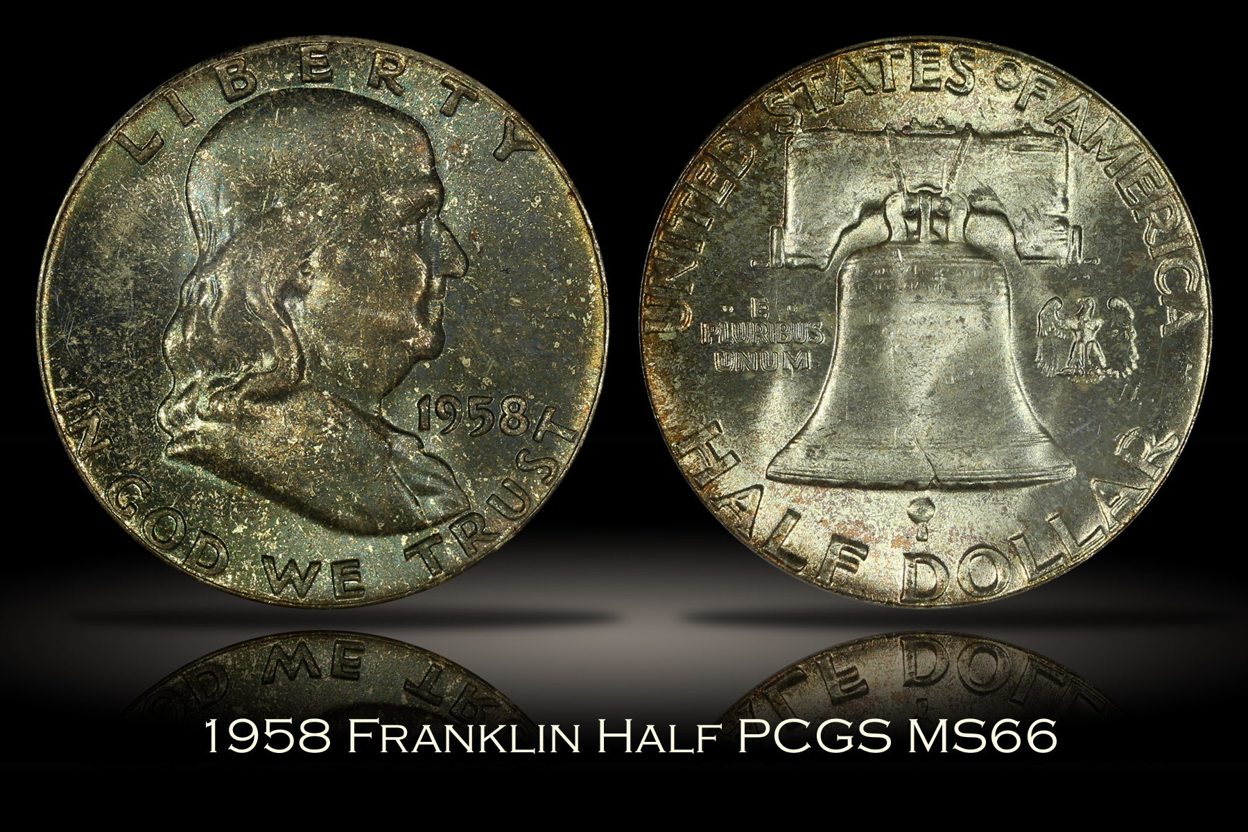 1958 Franklin Half PCGS MS66