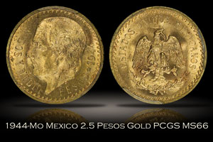1944-Mo Mexico 2.5 Pesos Gold PCGS MS66