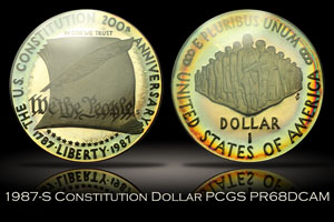 1987-S Proof Constitution Silver Dollar PCGS PR68DCAM