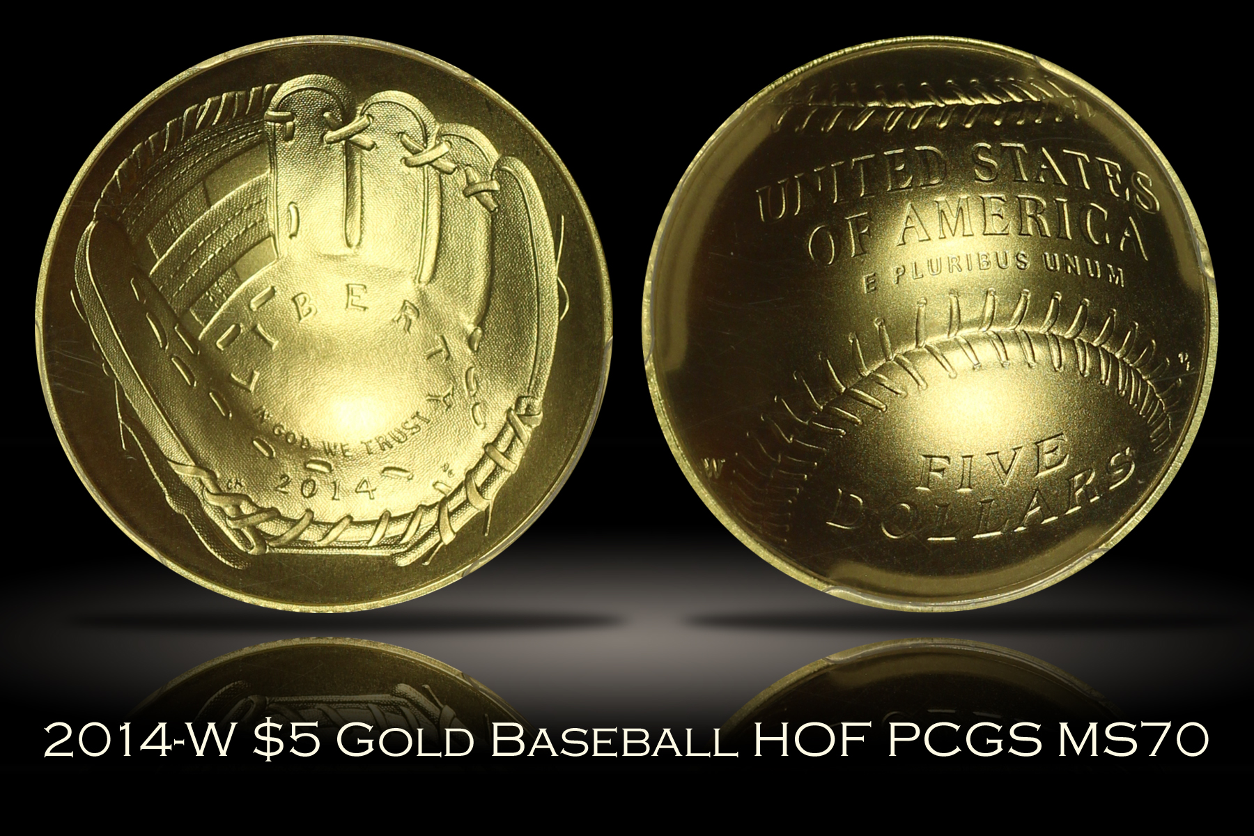 2014-W $5 Gold Baseball Hall of Fame PCGS MS70