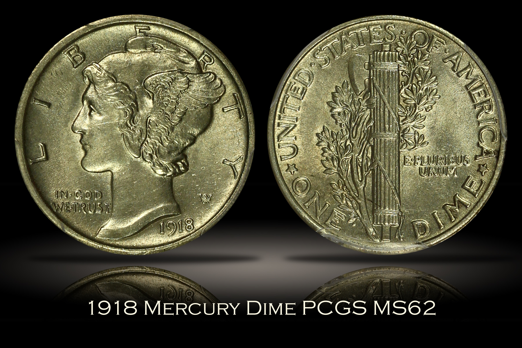 1918 Mercury Dime PCGS MS62
