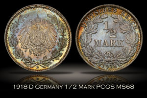 1918-D Germany 1/2 Mark PCGS MS68