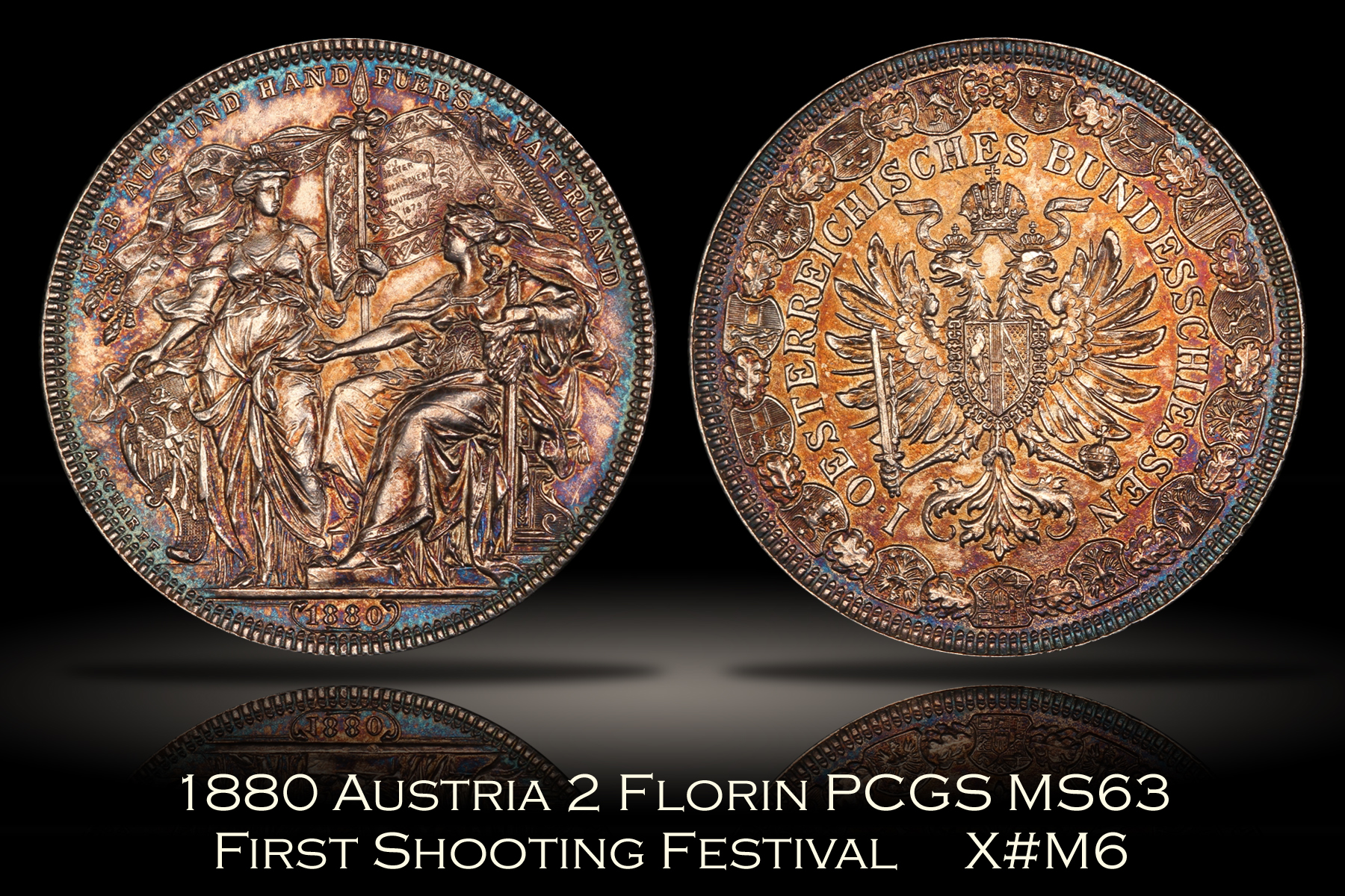 1880 Austria 2 Florin PCGS MS63 First Shooting Festival Medal