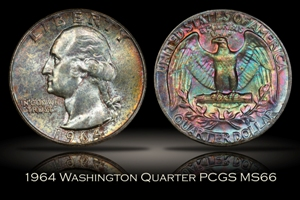 1964 Washington Quarter PCGS MS66