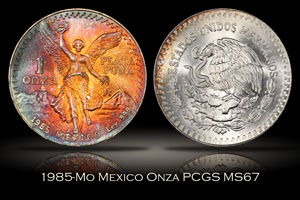 1985-Mo Mexico Onza PCGS MS67