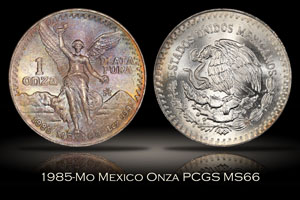 1985-Mo Mexico Onza PCGS MS66