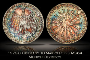 1972-G Germany 10 Mark Munich Olympics PCGS MS64