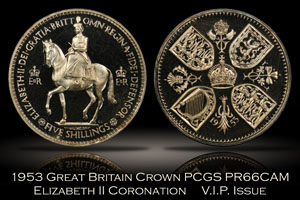 1953 Great Britain Elizabeth II V.I.P. Coronation Crown PCGS PR66CAM