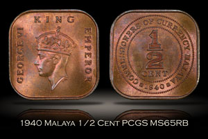 1940 Malaya 1/2 Cent PCGS MS65RB