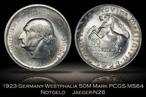 1923 Notgeld Germany Westphalia 50 Million Marks Jaeger N26 PCGS MS64