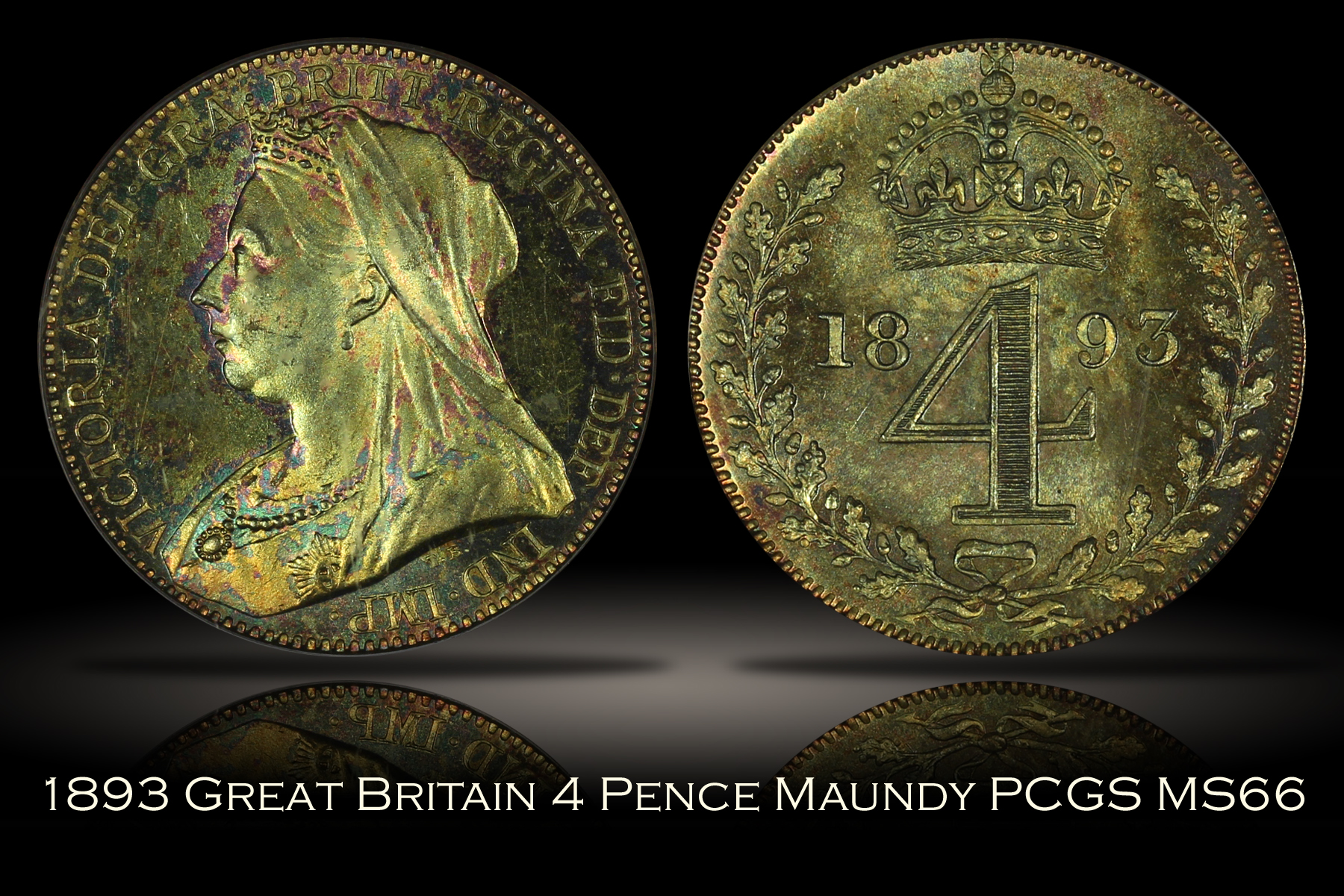 1893 Great Britain 4 Pence Maundy PCGS MS66
