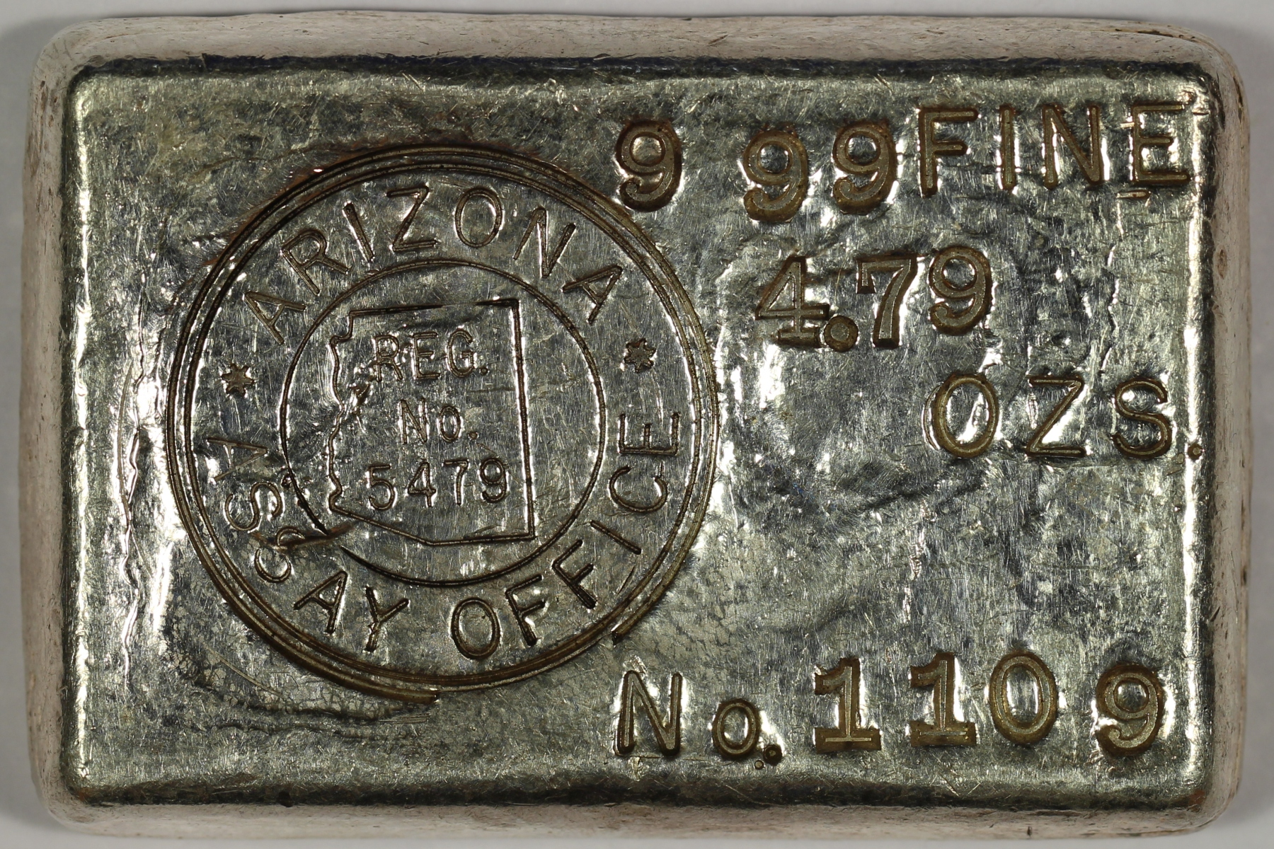 Arizona Assay Office 4.79 oz. 999 Fine Silver Bar