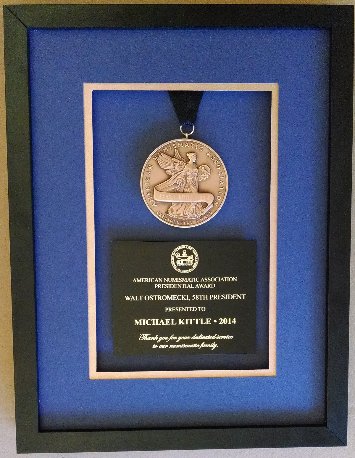 ANA Presidential Award issued to Michael Kittle March 2014