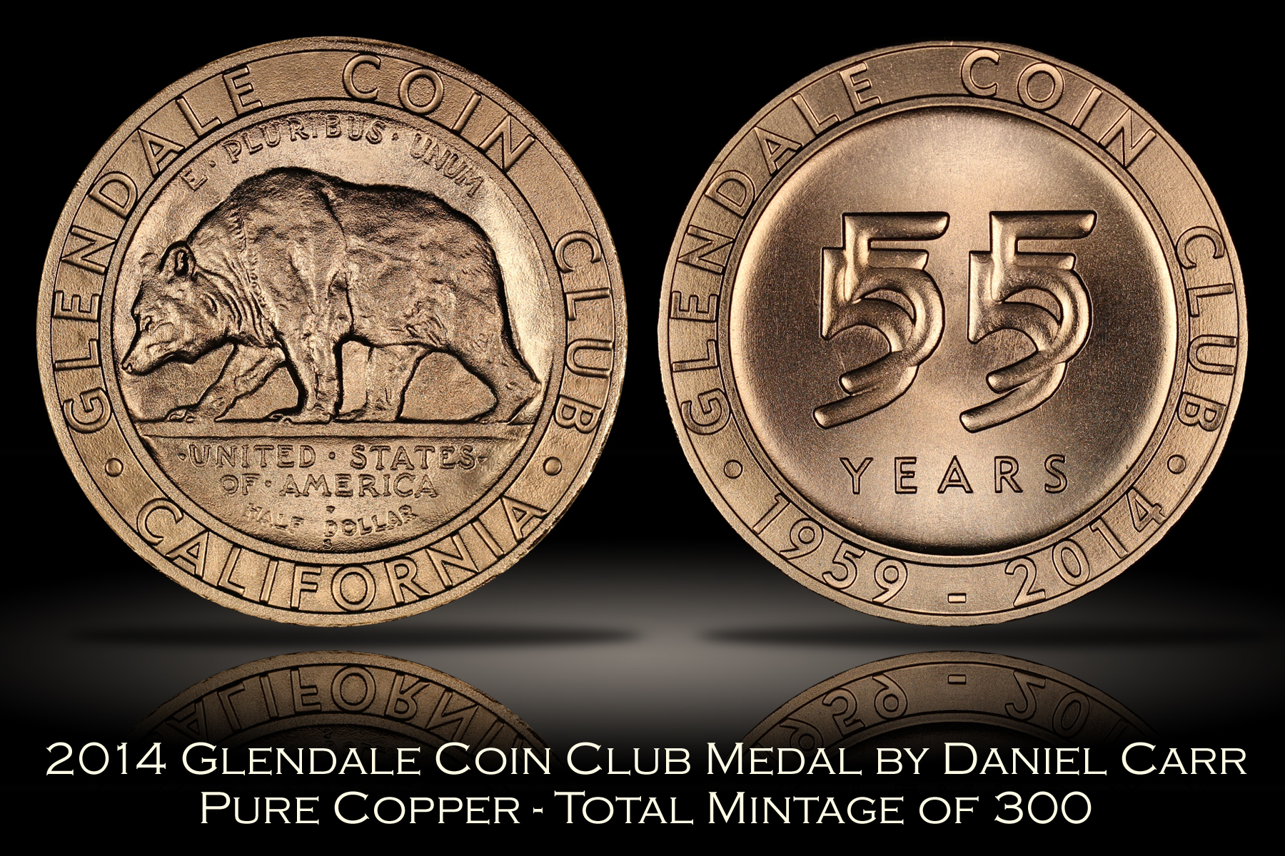 2014 Glendale Coin Club Copper Medal by Daniel Carr
