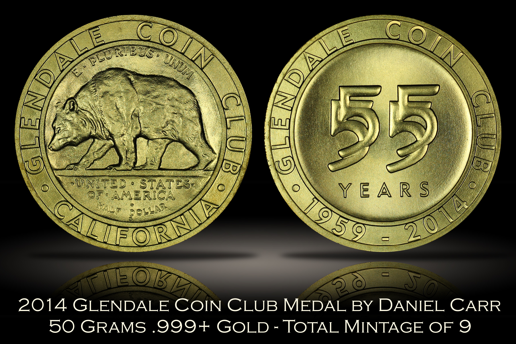 2014 Glendale Coin Club Gold Medal by Daniel Carr