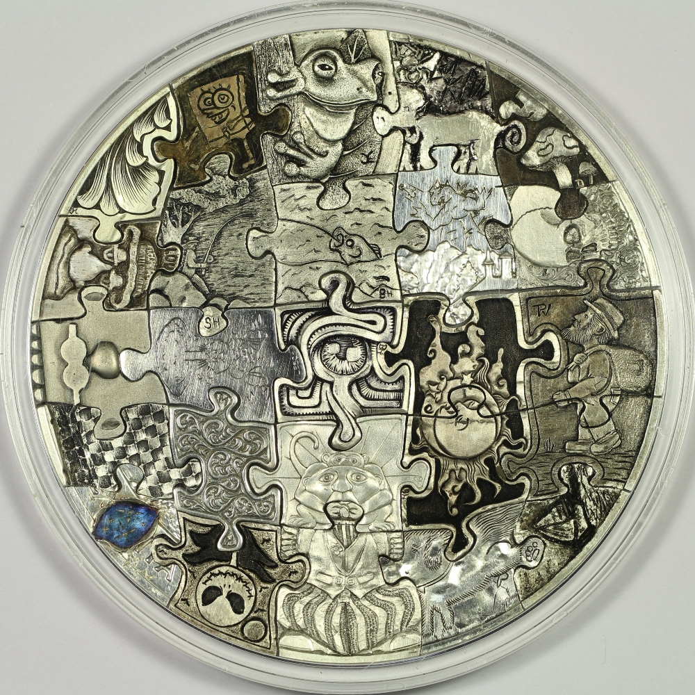 Hobo Nickel Style Hand Carved 25-Piece Puzzle Coin